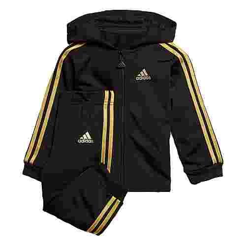 adidas Shiny Hooded Jogginganzug Trainingsanzug Kinder Black / Gold Met.