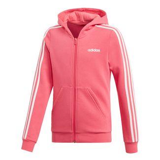 3fcde58a4d375 adidas 3-Streifen Kapuzenjacke Sweatjacke Kinder Real Pink / White