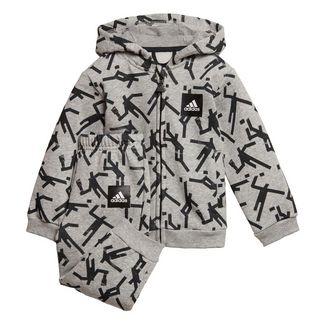 adidas Mini Me ID Hooded Jogger Set Trainingsanzug Kinder Medium Grey Heather / Black