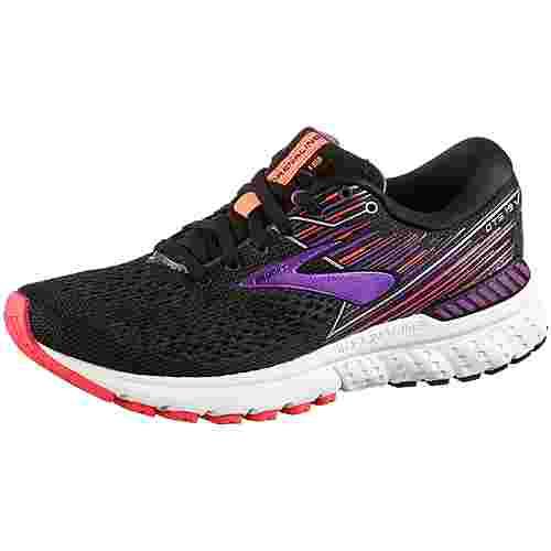 Brooks Adrenaline GTS 19 schmal Laufschuhe Damen black-purple-coral
