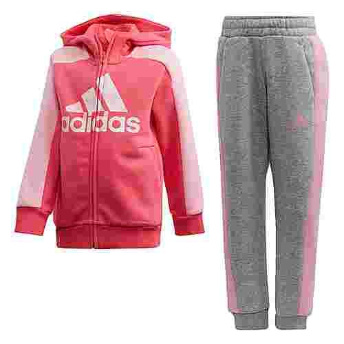 adidas Graphic Hoodie Set Trainingsanzug Kinder Real Pink / Medium Grey Heather / Light Pink