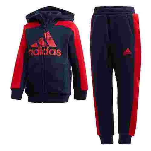 adidas Graphic Hoodie Set Trainingsanzug Kinder Collegiate Navy / Collegiate Navy / Scarlet