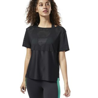 Reebok Perforated Performance T-Shirt Funktionsshirt Damen Schwarz