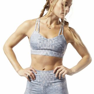 Reebok Hero Strappy Medium-Impact Padded Bra Sport-BH Damen Cold Grey 4