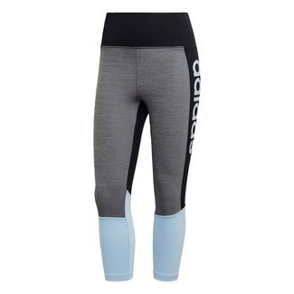 adidas Design 2 Move High Rise Logo 3/4-Tight Tights Damen Black / Glow Blue