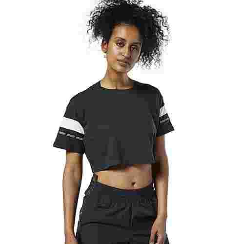 Reebok Meet You There Colorblock T-Shirt Funktionsshirt Damen Schwarz