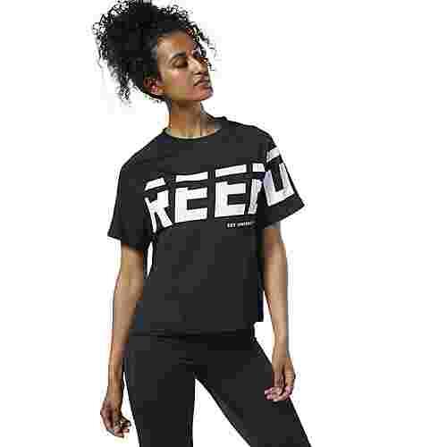 Reebok Meet You There Graphic T-Shirt Funktionsshirt Damen Schwarz
