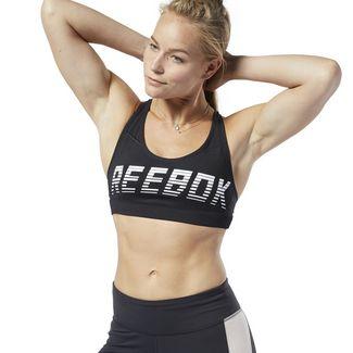 Reebok Hero Strappy Medium-Impact Padded Bra Sport-BH Damen Schwarz