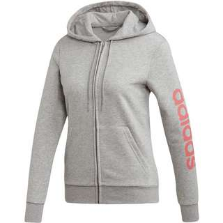 adidas Linear Sweatjacke Damen medium grey heather-bliss pink