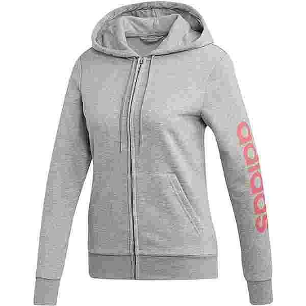 adidas Linear Sweatjacke Damen medium grey heather-bliss pink