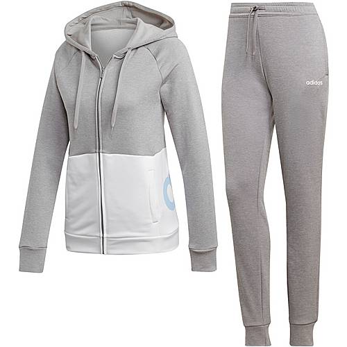 Adidas Linear Trainingsanzug Damen medium grey heather white