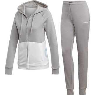 adidas Linear Trainingsanzug Damen medium grey heather-white