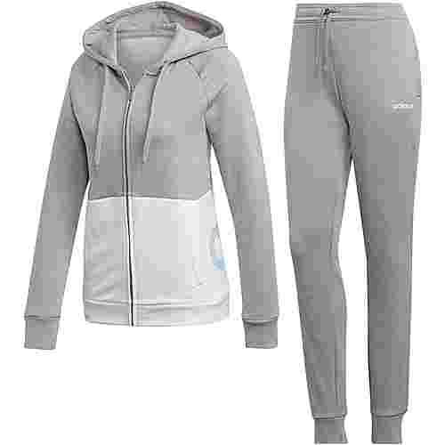 adidas Linear Trainingsanzug Damen medium grey heather-white