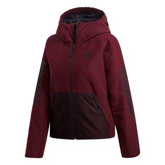 adidas 3-Streifen Hooded Insulated Jacke Daunenjacke Damen Maroon