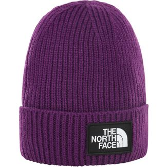 The North Face Logo Box Cuffed Beanie hero purple