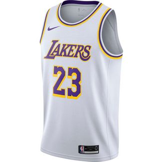 Nike Lebron James Los Angeles Lakers Basketballtrikot Herren white-amarillo-field purple