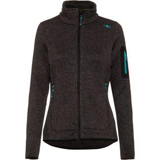 CMP Woman Jacket Knitted Fleecejacke Damen nero mel-antracite