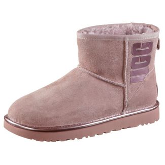 Ugg Classic Mini Rubber Stiefel Damen pink crystal metallic