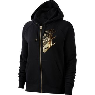 Nike NSW Shine Sweatjacke Damen black-metallic gold
