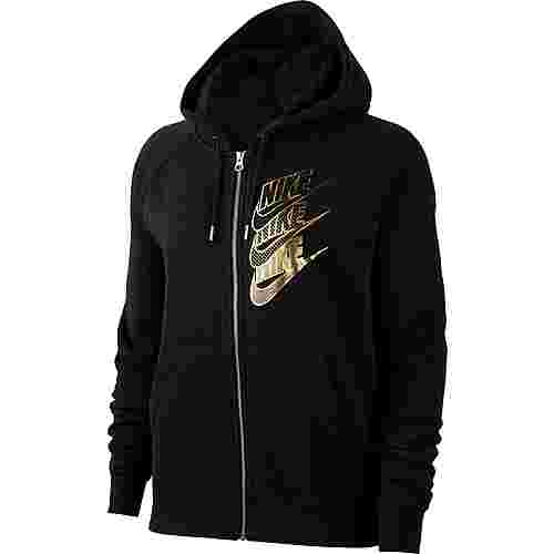 Nike Nsw Shine Sweatjacke Damen Black Metallic Gold Im