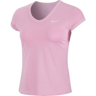 Nike W NKCT DRY TOP SS Tennisshirt Damen pink rise-white