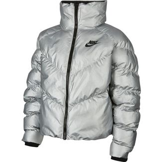 Nike NSW Steppjacke Damen metallic silver-black