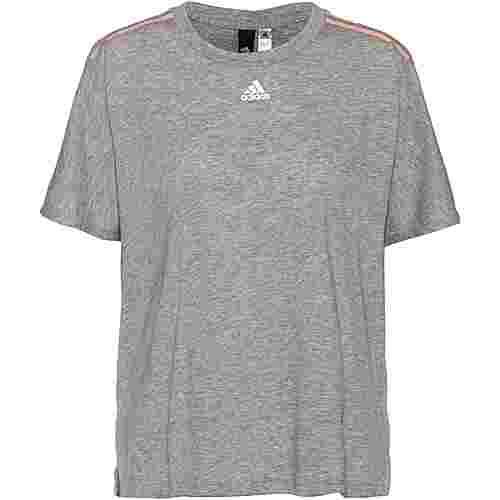 adidas T-Shirt Damen mgreyh-glopnk-white