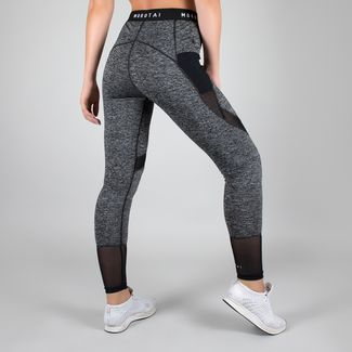 MOROTAI Mesh Performance Tights Leggings Damen Grau-meliert