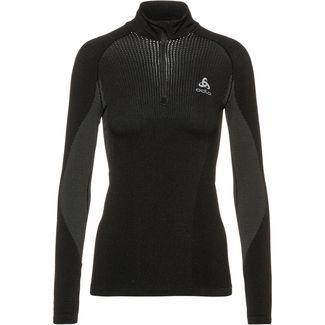 Odlo Bl Top Turtle Neck L/S Half Zip Performa Funktionsshirt Damen black-concrete grey