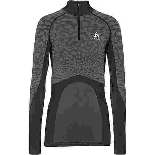 Odlo Bl Top Turtle Neck L/S HalfZip Blackcomb Funktionsshirt Damen black-steel grey-silver