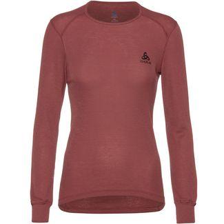 Odlo Bl Top Crew Neck L/S Active Warm Funktionsshirt Damen roan rouge