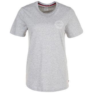 Herschel Stamp Logo T-Shirt Damen grau / weiß