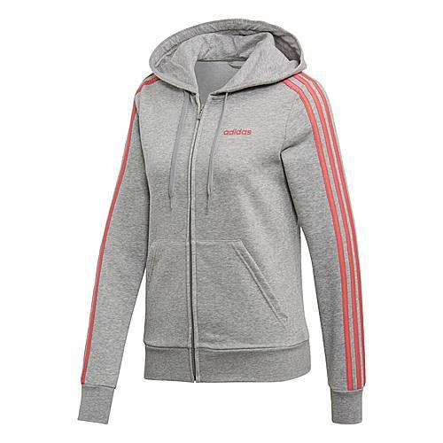 adidas Essentials 3 Streifen Kapuzenjacke Sweatjacke Damen Medium Grey Heather Bliss Pink im Online Shop von SportScheck kaufen