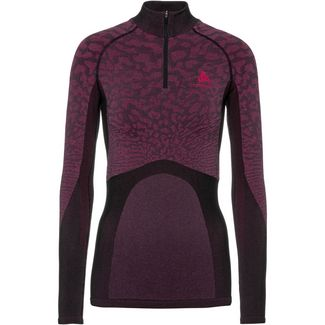 Odlo Bl Top Turtle Neck L/S Half Zip Blackcom Funktionsshirt Damen black-cerise-cerise