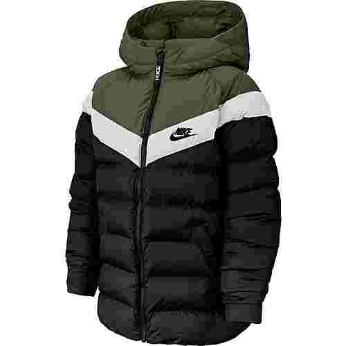 Nike NSW Steppjacke Kinder black-medium-olive-white-black