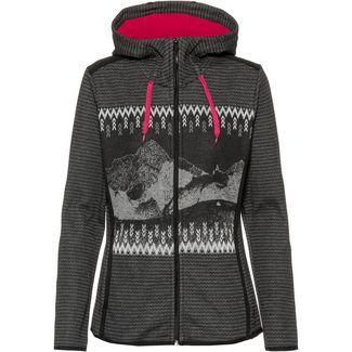 CMP Woman Jacket Fix Hood Bonded Jacquard Fleecejacke Damen nero-fumo-granita