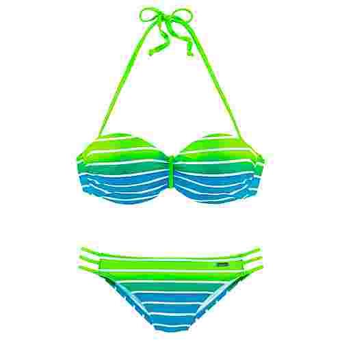 VENICE BEACH Bikini Set Damen türkis-gestreift