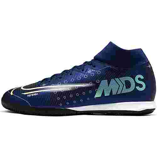 Nike MERCURIAL SUPERFLY 7 ACADEMY MDS IC Fußballschuhe blue void-metallic silver-white-black