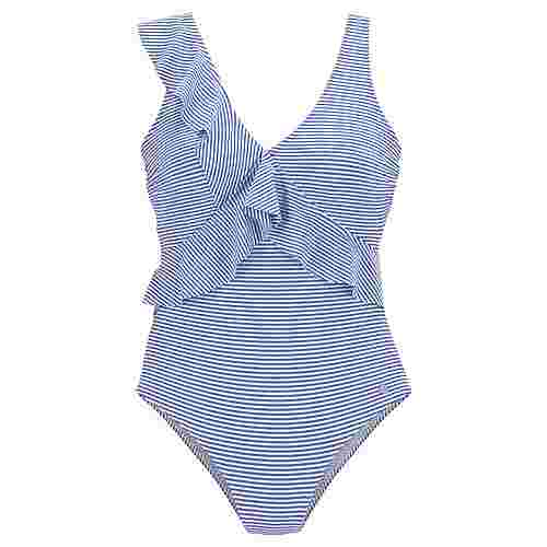 Lascana Badeanzug Damen gestreift-blau-weiß