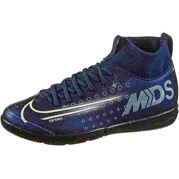 Nike JR MERCURIAL SUPERFLY 7 ACADEMY MDS IC Fußballschuhe Kinder blue void-metallic silver-white-black