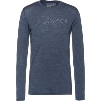 ORTOVOX 185 Merino Mountain Langarmshirt Herren night blue blend
