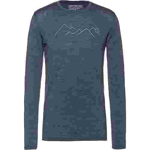 ORTOVOX Merino 185  Mountain Langarmshirt Herren night blue blend