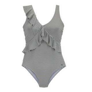 Lascana Badeanzug Damen gestreift-schwarz-weiß