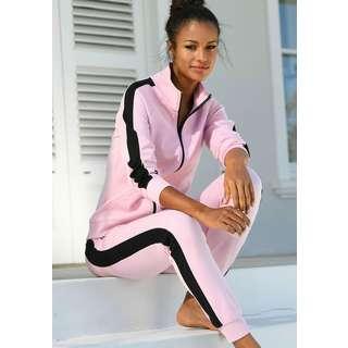 Bench Sweatjacke Damen rosa-schwarz