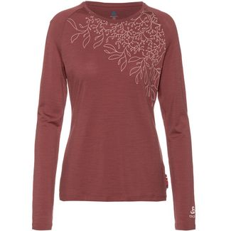 Odlo ALLIANCE MERINO Langarmshirt Damen roan rouge-leaf print FW19