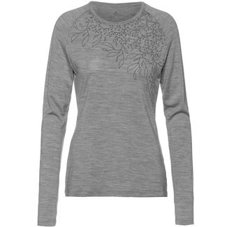 Odlo Merino ALLIANCE Langarmshirt Damen grey melange-leaf print FW19
