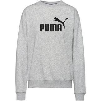 PUMA Logo Crew Sweatshirt Damen light grey heather