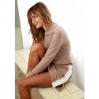 Bench Jerseykleid Damen camelfarben-weiß