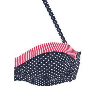 S.OLIVER Bikini Oberteil Damen marine-weiß-gepunktet