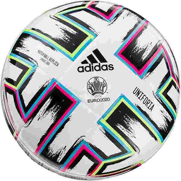 adidas EM 2021 UNIFO League J350 Fußball white-black-signal green-bright cyan